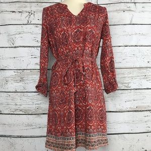 {Lucky Brand} Belted Paisley Tunic Dress